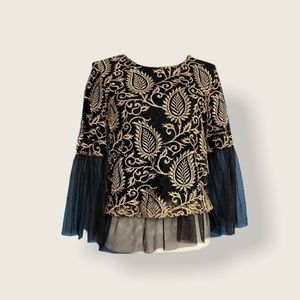 DREW Women's Black/Gold Embroidered Mesh Top XS